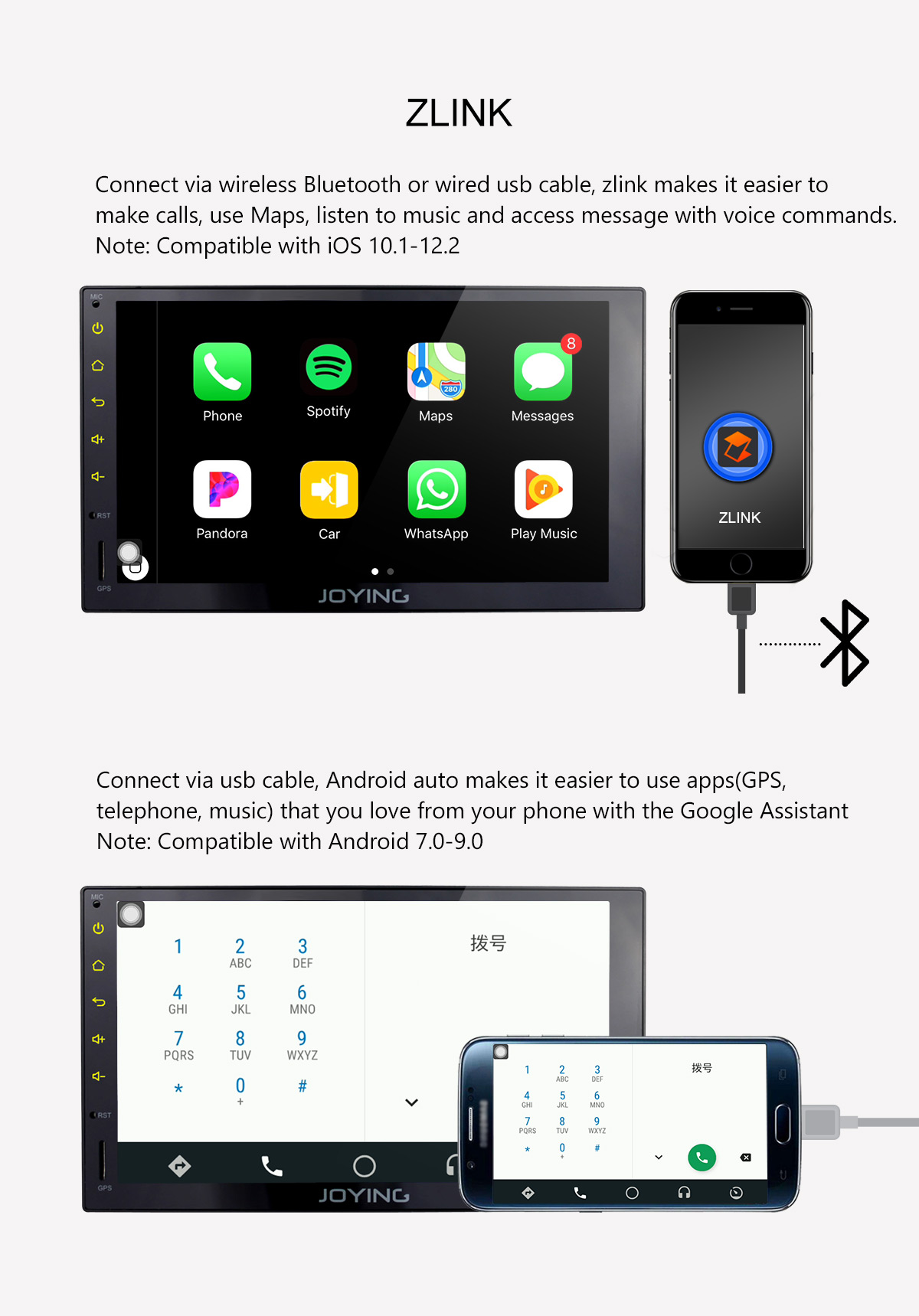 Joying Latest 4G DSP Android 8 1 0 Oreo Radio 2din 7 inch Car Stereo  replacement head unit